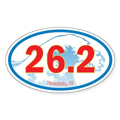 Honolulu marathon 26 2 euro oval car sticker stick