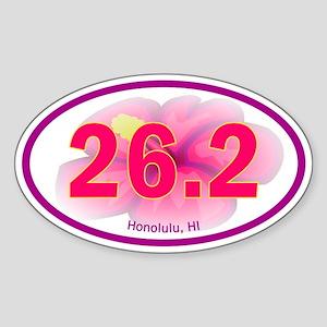Honolulu Marathon 26.2 Euro Oval (Flower) Sticker