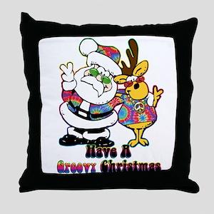 Groovy Christmas Throw Pillow