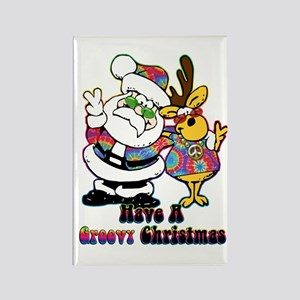 Groovy Christmas Rectangle Magnet