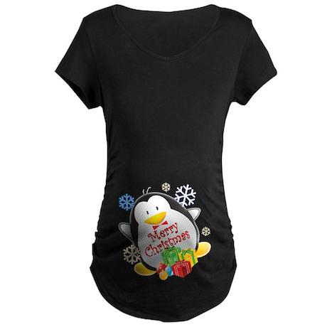 Penguin Christmas Maternity Dark T-Shirt