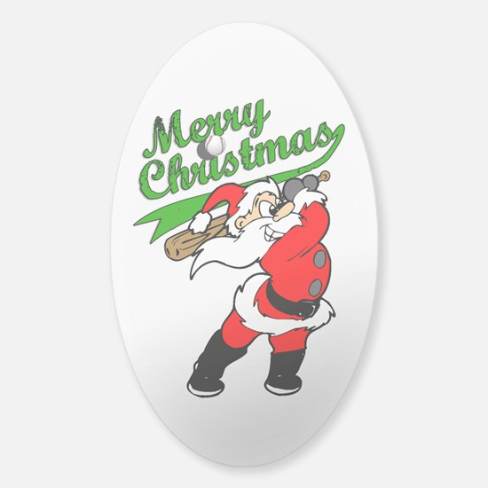 Baseball Christmas Sticker (Oval)