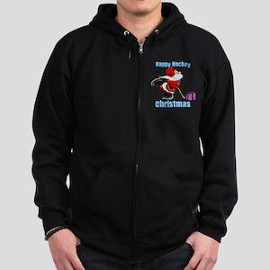 Hockey Christmas Zip Hoodie (dark)