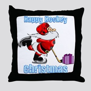 Hockey Christmas Throw Pillow