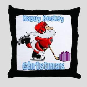 Hockey Christmas Throw Pillow