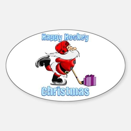 Hockey Christmas Sticker (Oval)