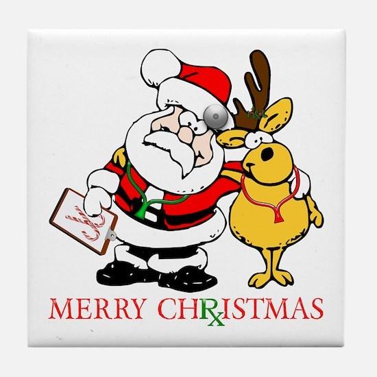 Santa Doctor Christmas Tile Coaster