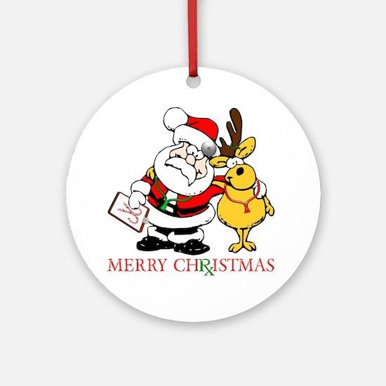 Santa Doctor Christmas Ornament (Round)