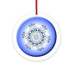 Blue Snowflake Porcelain Ornament w/Ribbon