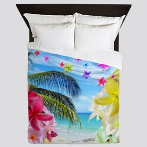 Tropical Beach and Exotic Plumeria Flowers Queen D