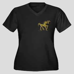 Gold Invitation to the Unicorn Women's Plus Size V