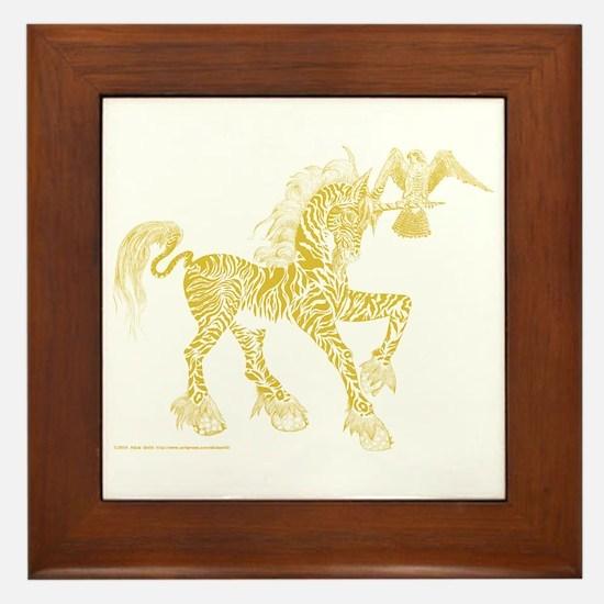 Gold Invitation to the Unicorn Framed Tile