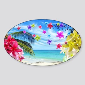 Tropical Beach and Exotic Plumeria Flowers Sticker