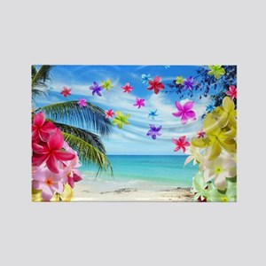 Tropical Beach and Exotic Plumeria Flowers Magnets