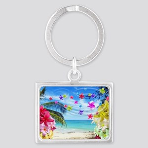 Tropical Beach and Exotic Plumeria Flowers Keychai