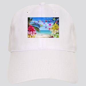 Tropical Beach and Exotic Plumeria Flowers Basebal