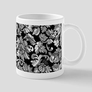 Black & metallic silver gray vintage damasks Mugs