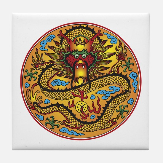 Asian Dragon Motif Tile Coaster