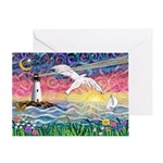 Lighthouse Seagull Greeting Card