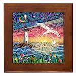 Lighthouse Seagull Framed Tile