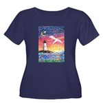 Lighthou Women's Plus Size Scoop Neck Dark T-Shirt