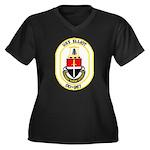 USS ELLIOT Women's Plus Size V-Neck Dark T-Shirt