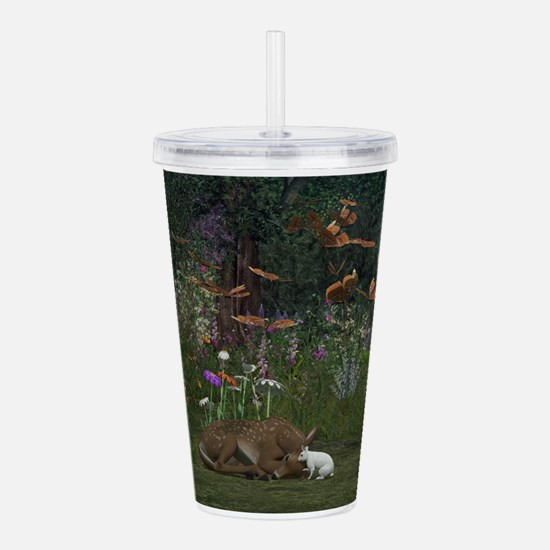 Fawn and Rabbit Acrylic Double-wall Tumbler
