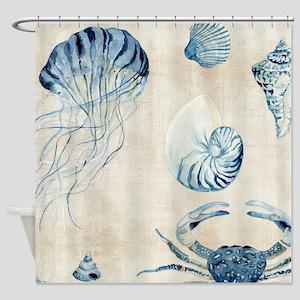 Indigo Ocean Sketchbook Jellyfish C Shower Curtain
