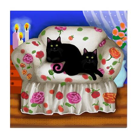 BLACK CATS FLOWERS sofa Tile Coaster