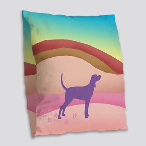 Pink Hills Coonhound (with pur Burlap Throw Pillow