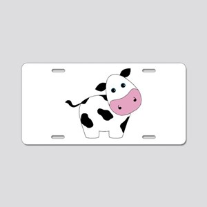 Cute Black and White Cow Aluminum License Plate