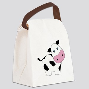 Cute Black and White Cow Canvas Lunch Bag
