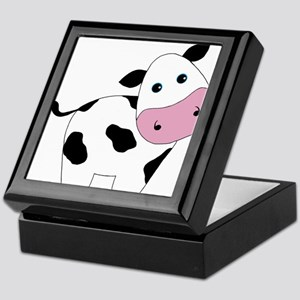Cute Black and White Cow Keepsake Box