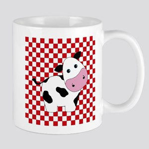 Cute Cow on Red and White Mugs