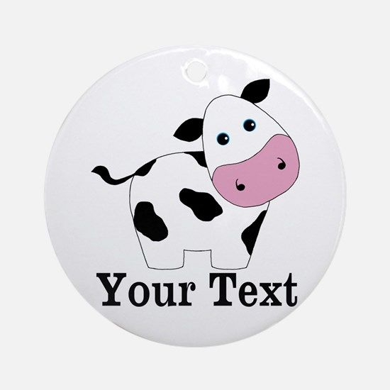 Personalizable Black White Cow Ornament (Round)