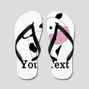 Personalizable Black White Cow Flip Flops