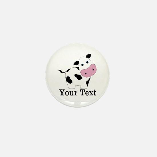 Personalizable Black White Cow Mini Button