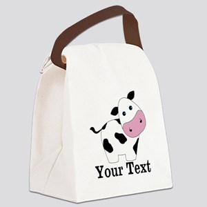Personalizable Black White Cow Canvas Lunch Bag