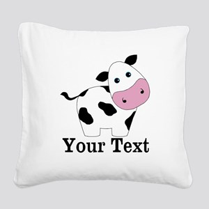 Personalizable Black White Cow Square Canvas Pillo