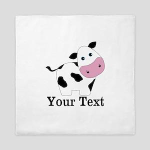 Personalizable Black White Cow Queen Duvet