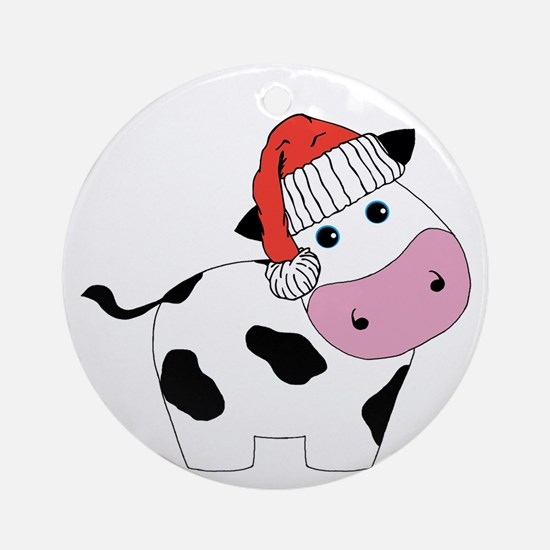 Christmas Cow Ornament (Round)