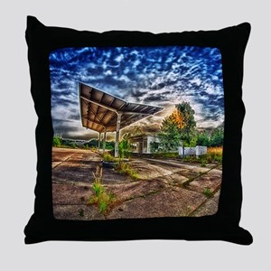Abandoned Garage Throw Pillow
