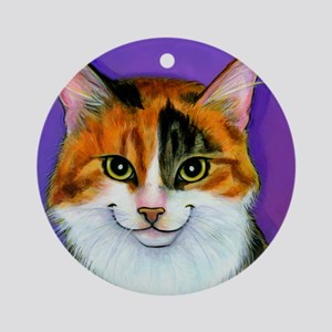 Calico Cat Ornament (Round)