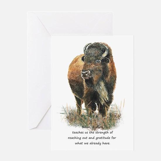 Bison Buffalo Animal Totem Spirit Guide Art Greeti