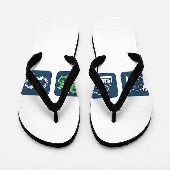Funny Eat and sleep Flip Flops