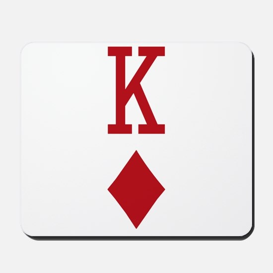 King of Diamonds Red Playing Card Mousepad