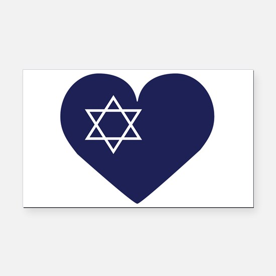 Blue Hart with Magen David Rectangle Car Magnet