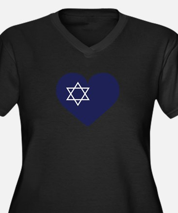 Blue Hart with Magen David Plus Size T-Shirt