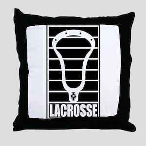 Lacrosse Head Lines Throw Pillow