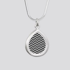Chevron Black White Silver Teardrop Necklace
